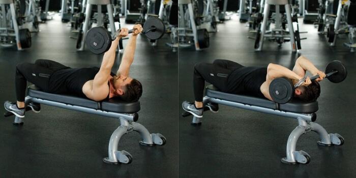 overhead ez bar triceps extension