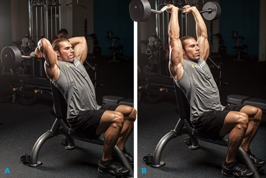 seated barbell triceps extension