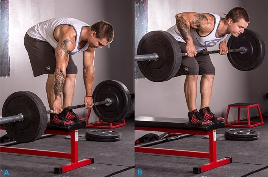 barbell row with high incline