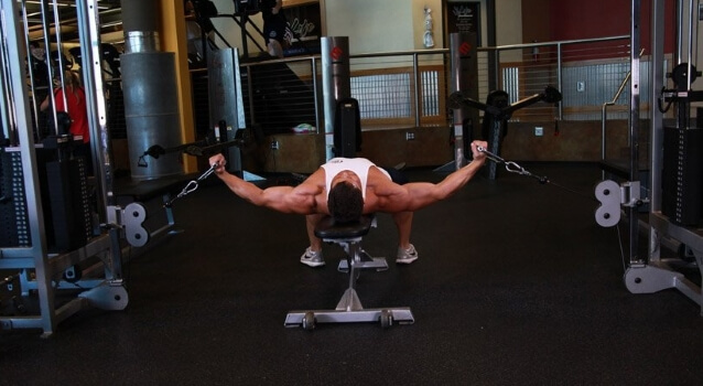 cable crossover chest fly lying