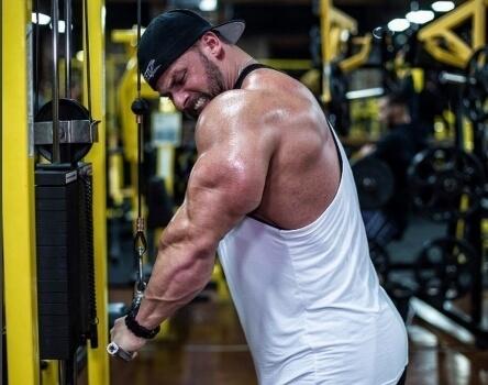 ez bar cable triceps extension
